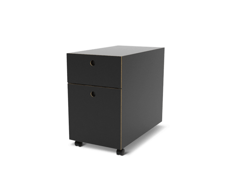 Storage for height adjustable office tables. Storage cabinet in black.