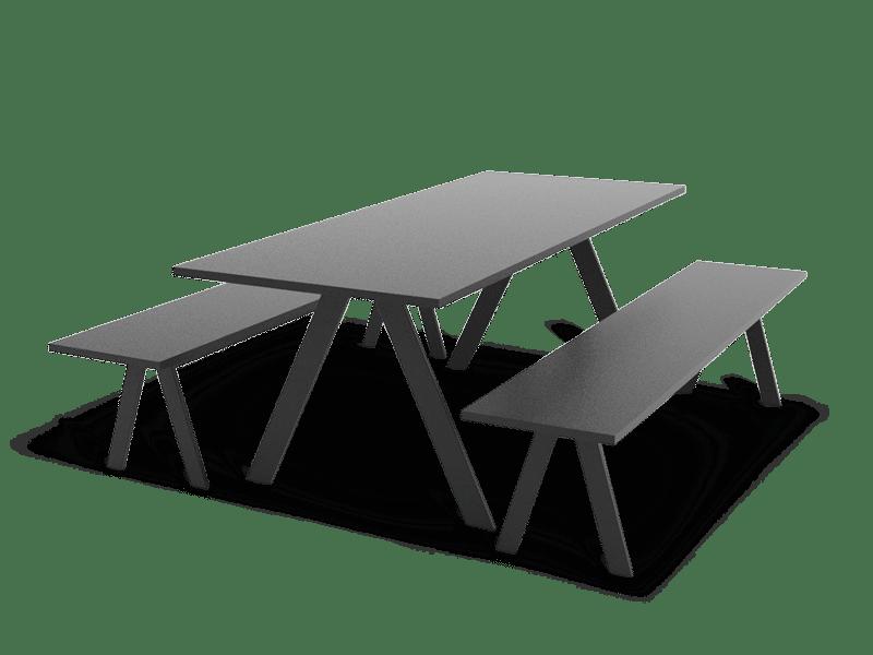 Table and bench set in black. Exclusive scandinavian design