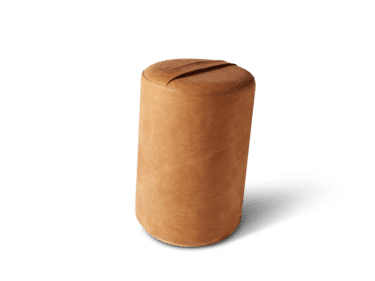 Pouf in leather with tilt