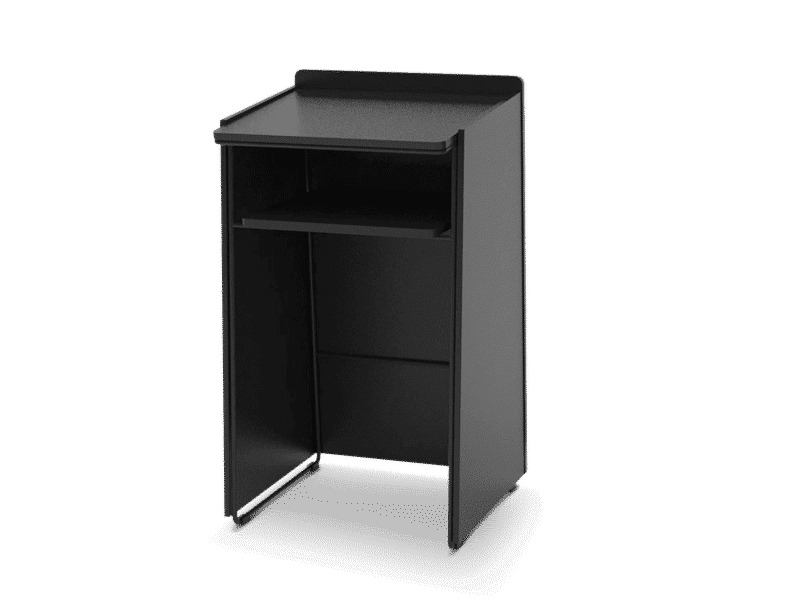 Closed lectern and speaker chair